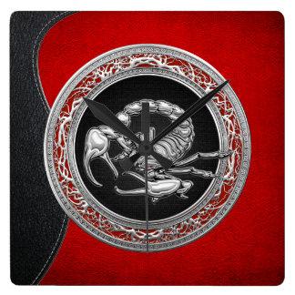 [200] Sacred Silver Scorpion on Black Square Wall Clocks