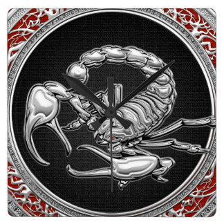 [200] Sacred Silver Scorpion on Black Square Wallclock
