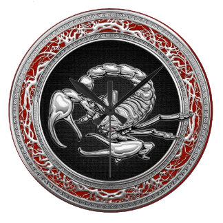 [200] Sacred Silver Scorpion on Black Wallclock