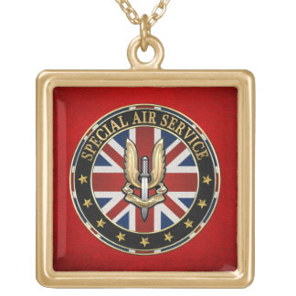 [200] Special Air Service (SAS) Badge [3D] Gold Plated Necklace