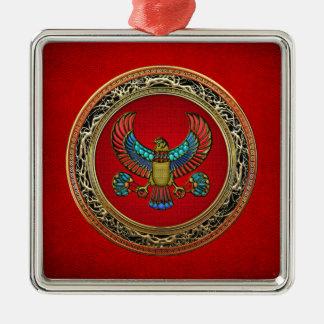 [200] Treasure Trove: Egyptian Falcon Square Metal Christmas Ornament