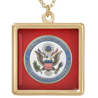 [200] U.S. Department of State (DoS) Emblem [3D] Gold Plated Necklace