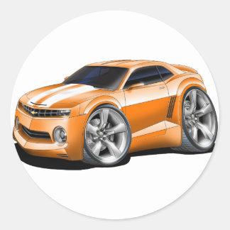 2010-11 Camaro Orange-White Car Classic Round Sticker