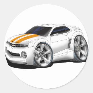 2010-11 Camaro White-Orange Car Classic Round Sticker