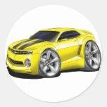 2010-11 Camaro Yellow-Black Car Round Sticker