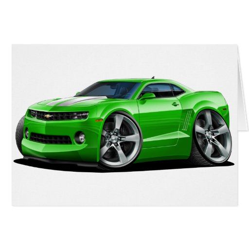 2010 12 camaro green white car card zazzle. Black Bedroom Furniture Sets. Home Design Ideas