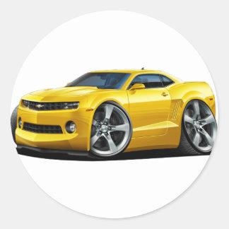 2010-12 Camaro Yellow Car Classic Round Sticker