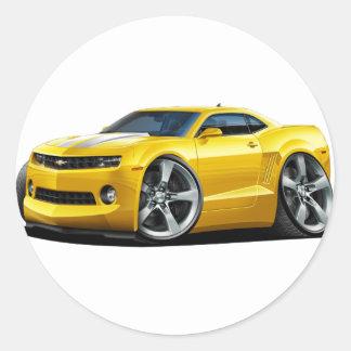 2010-12 Camaro Yellow-White Car Classic Round Sticker