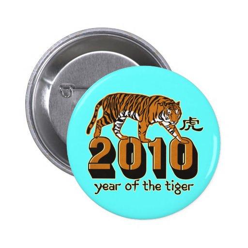 2010 años del tigre pin redondo 5 cm