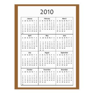 2010 Calendar Postcard Pocket-Size Calendar