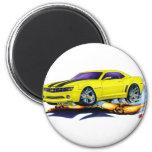 2010 Camaro Yellow-Black Car 2 Inch Round Magnet