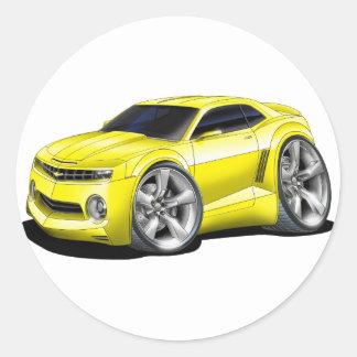 2010 Camaro Yellow car Classic Round Sticker