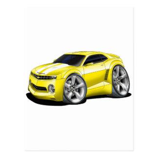 2010 Camaro Yellow-White Car Postcard
