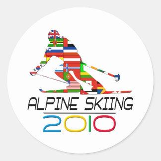 2010: Esquí alpino Pegatina Redonda