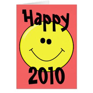 2010 feliz - Smiley sonriente en tarjeta