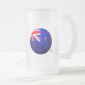 2010 Football New Zealand Frosted Glass Beer Mug