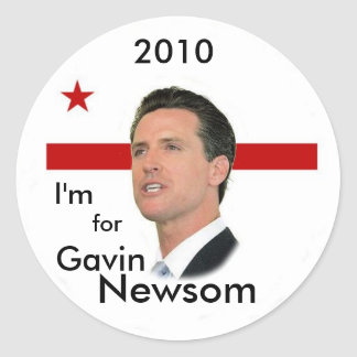 2010 Gavin Newsom Round Stickers