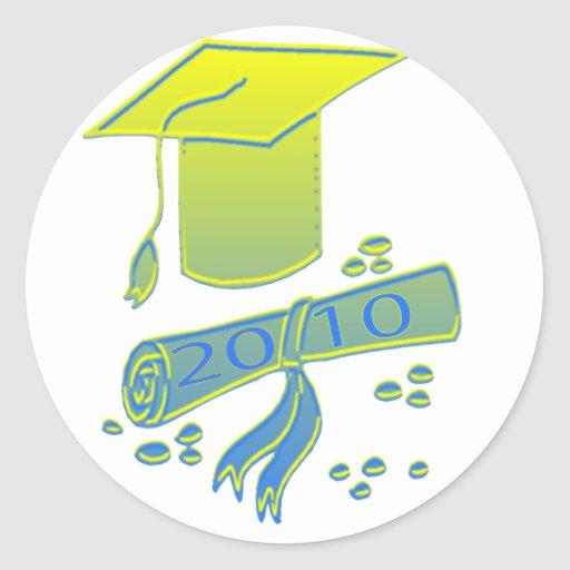 2010.graduate.cap classic round sticker