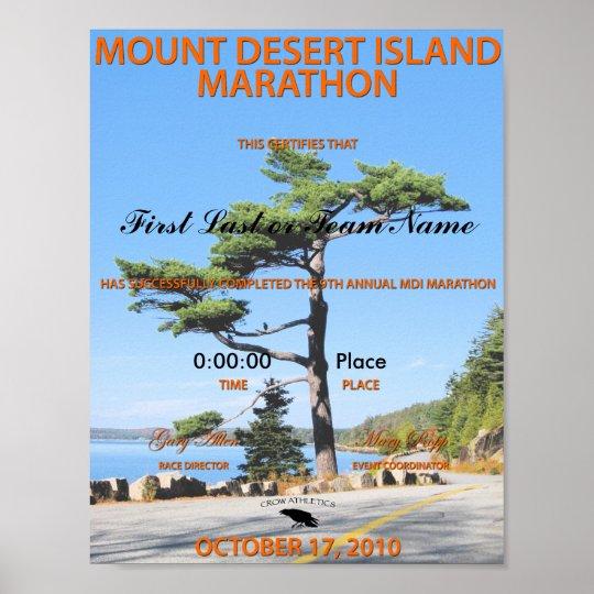 2010 MDI Marathon FINISHER certificate Poster