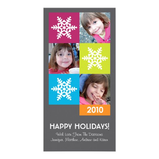2010 Merry & Bright Snowflakes Holiday Photo Card