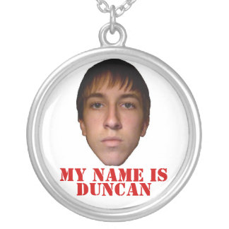 2010 Necklace, My name is Duncan Round Pendant Necklace