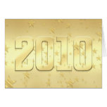 2010 New Year Gold stars Party 2010 Gear Greeting Card