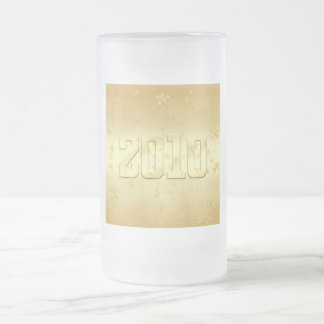 2010 New Year Gold stars Party 2010 Gear Frosted Glass Beer Mug