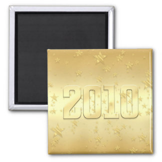2010 New Year Gold stars Party 2010 Gear 2 Inch Square Magnet