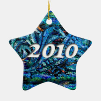 2010 on Blue Dreams Abstract #1 Ceramic Ornament