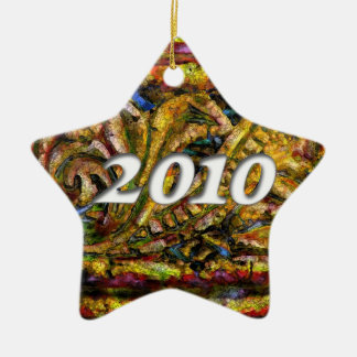 2010 on Golden Dreams Abstract #1 Ceramic Ornament
