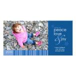 2010 Peace, Love and Joy 4x8 Photo Card - Blue