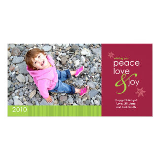 2010 Peace, Love and Joy 4x8 Photo Card - Red