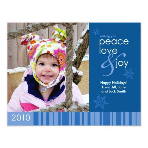 2010 Peace, Love and Joy Holiday Photo Card - Blue