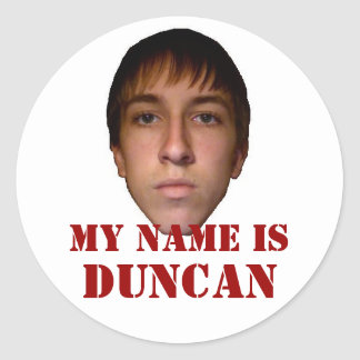 2010 pegatinas redondos, mi nombre son Duncan Etiqueta Redonda