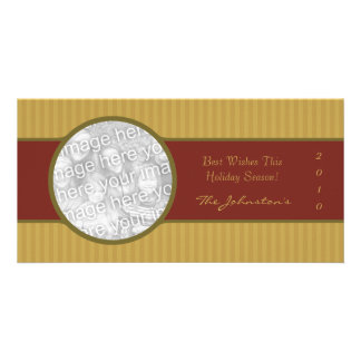 2010 Red Gold Sophisticated Holiday Photo Cards