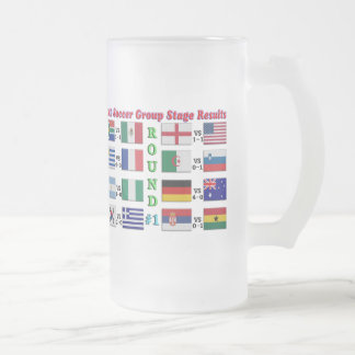 2010 Soccer Group Stage Results  Round # 1 Frosted Glass Beer Mug