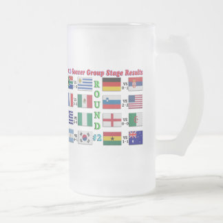 2010 Soccer Group Stage Results  Round # 2 Frosted Glass Beer Mug