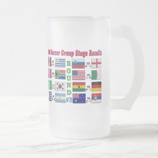 2010 Soccer Group Stage Results  Round # 3 Frosted Glass Beer Mug