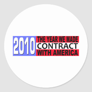 2010 The Year we Made CONTRACT with America Classic Round Sticker