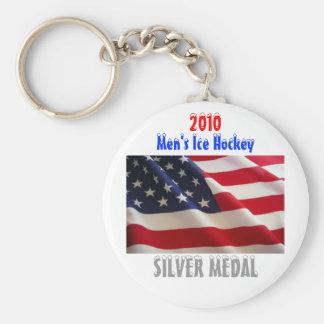 2010 USA Men's Ice Hockey - Silver Medal Basic Round Button Keychain