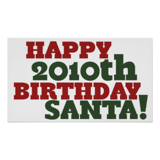2010o cumpleaños feliz Santa Póster
