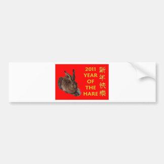 2011 años de las liebres (caracteres chinos) pegatina para auto