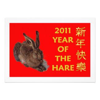 2011 años del Año Nuevo chino feliz de las liebres Invitacion Personal