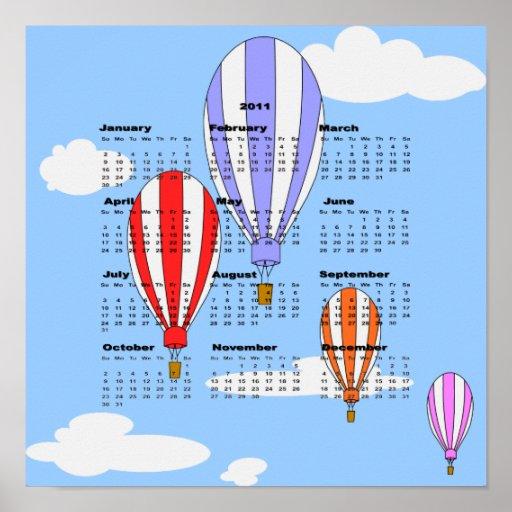 2011 Balloon Calendar Poster