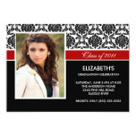 "2011 Black Damask Photo Graduation Invitation Red 5"" X 7"" Invitation Card"