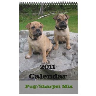 2011 calendario, barro amasado/mezcla de Sharpei Calendarios