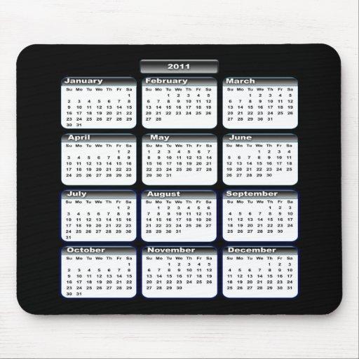 2011 calendario negro Mousepad
