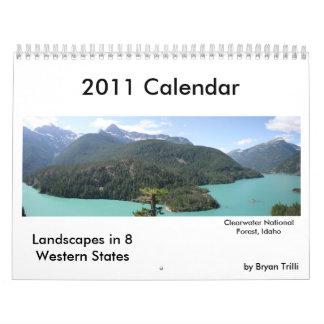2011 calendario, paisajes a partir de 8 Estados Oc