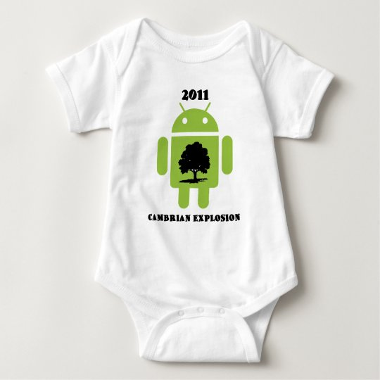2011 Cambrian Explosion (Android Bug Droid) Baby Bodysuit