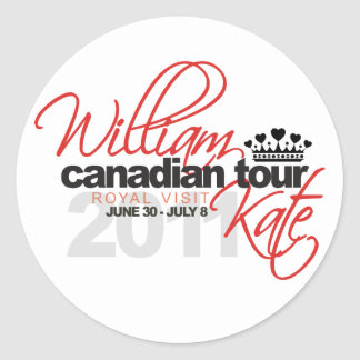 2011 Canadian Tour - William & Kate Wedding Classic Round Sticker